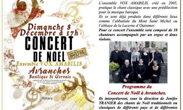 Le Rotary Club d'Avranches vous invite à venir au Concert de Noël 2019 le dimanche 08 Décembre 2019 à Avranches !