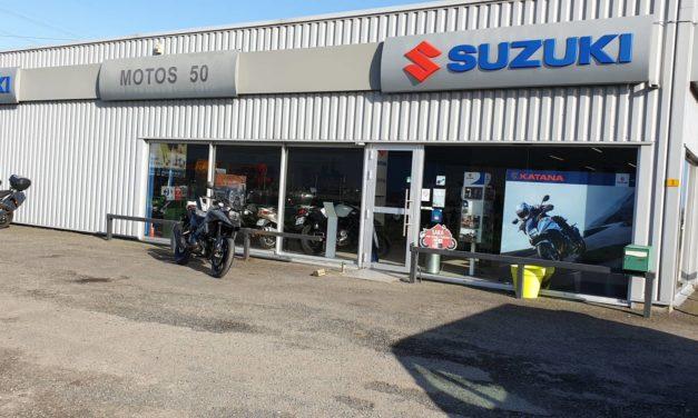 Motos 50 à Isigny le Buat. Vente et réparations toutes marques. Concessionnaire Suzuki (motos, scooters, quad et 50 cm3 à boitte).