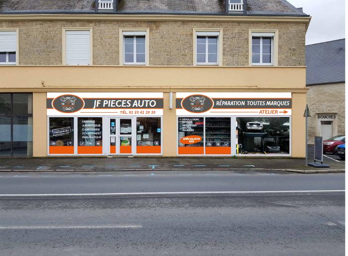 JF Pièces Auto à Carentan les Marais. Vente de pièces, garage et nettoyage automobiles. Nouvelle façade et nouveau logo !